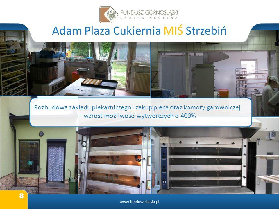 8 Adam Plaza Cukiernia MIŚ Strzebiń Rozbudowa zakładu piekarniczego i zakup pieca oraz komory garowniczej – wzrost możliwości wytwórczych o 400%