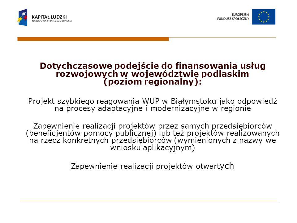 Dotychczasowe podejście do finansowania usług rozwojowych w województwie podlaskim (poziom regionalny): Projekt szybkiego reagowania WUP w Białymstoku jako odpowiedź na procesy adaptacyjne i modernizacyjne w regionie Zapewnienie realizacji projektów przez samych przedsiębiorców (beneficjentów pomocy publicznej) lub też projektów realizowanych na rzecz konkretnych przedsiębiorców (wymienionych z nazwy we wniosku aplikacyjnym) Zapewnienie realizacji projektów otwart ych