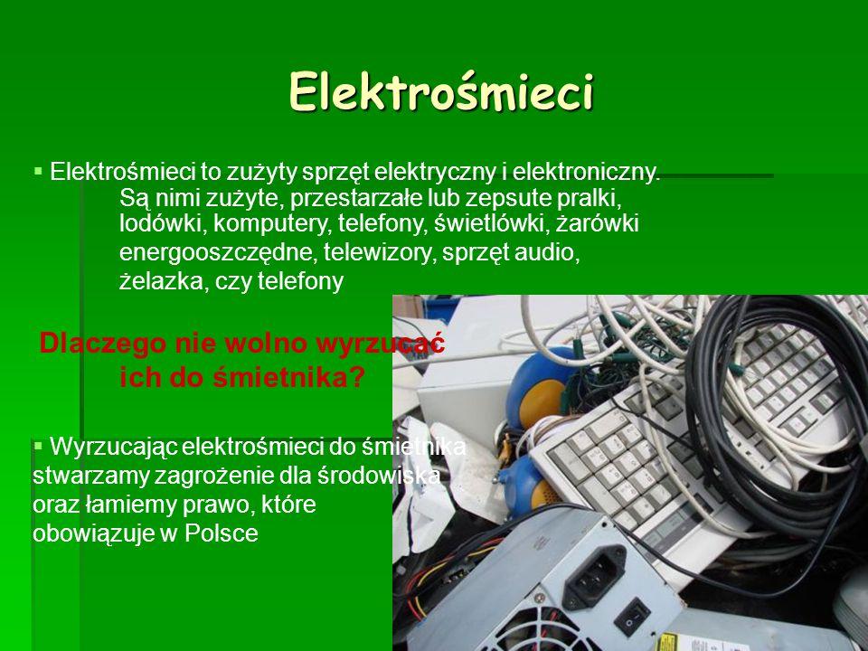 Elektrośmieci  Elektrośmieci to zużyty sprzęt elektryczny i elektroniczny. Są nimi zużyte, przestarzałe lub zepsute pralki, lodówki, komputery, telef