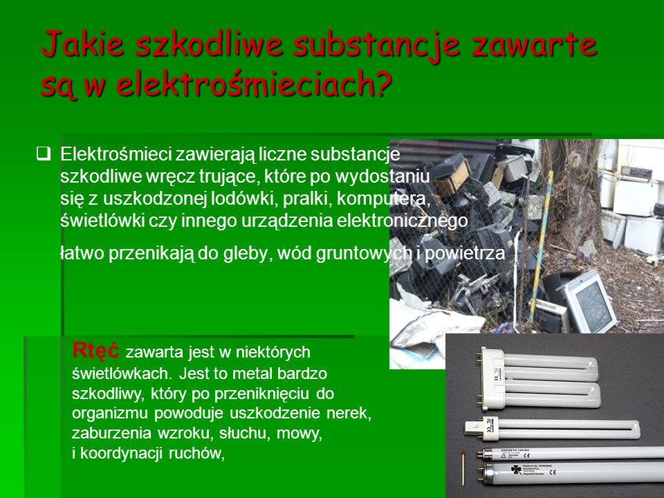 Jakie szkodliwe substancje zawarte są w elektrośmieciach?   Elektrośmieci zawierają liczne substancje szkodliwe wręcz trujące, które po wydostaniu s