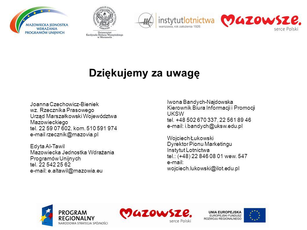 Dziękujemy za uwagę Joanna Czechowicz-Bieniek wz. Rzecznika Prasowego Urząd Marszałkowski Województwa Mazowieckiego tel. 22 59 07 602, kom. 510 591 97