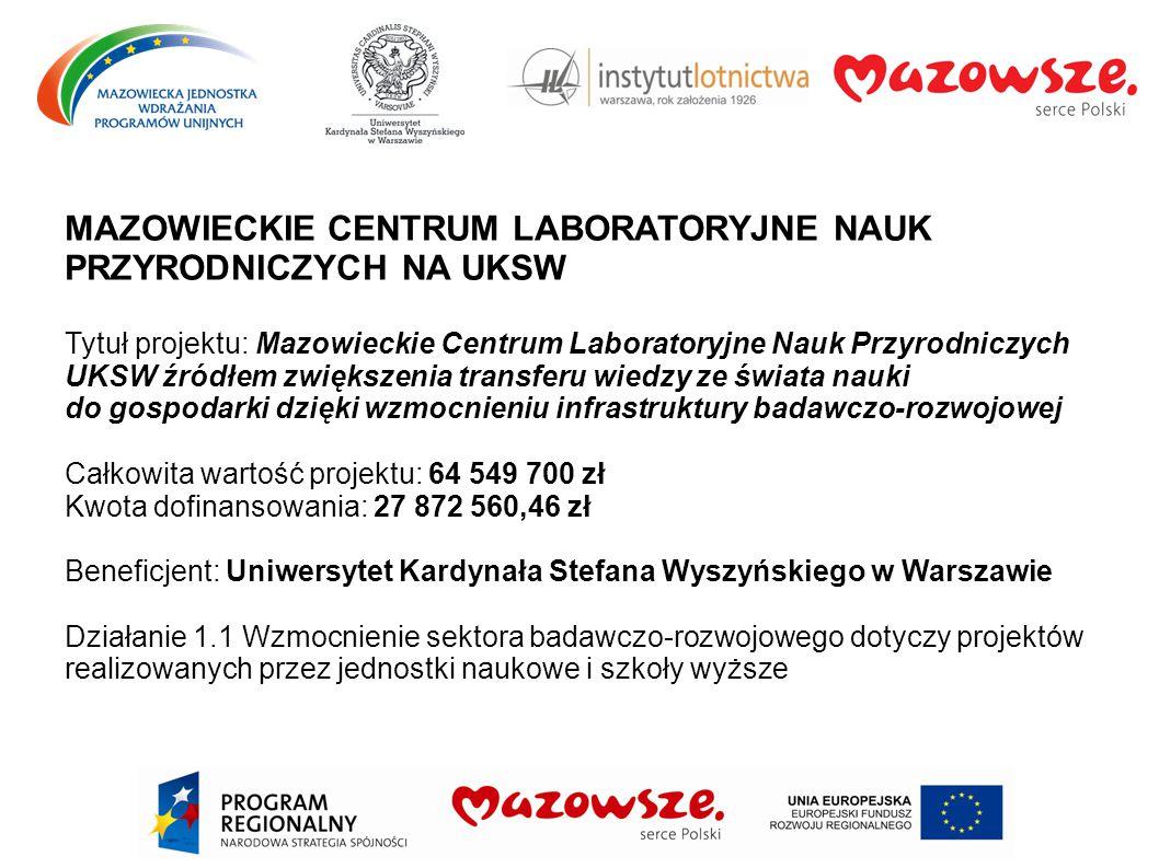 MAZOWIECKIE CENTRUM LABORATORYJNE NAUK PRZYRODNICZYCH NA UKSW Tytuł projektu: Mazowieckie Centrum Laboratoryjne Nauk Przyrodniczych UKSW źródłem zwięk