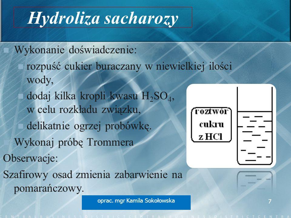 Hydroliza sacharozy Wykonanie doświadczenie: rozpuść cukier buraczany w niewielkiej ilości wody, dodaj kilka kropli kwasu H 2 SO 4, w celu rozkładu związku, delikatnie ogrzej probówkę.