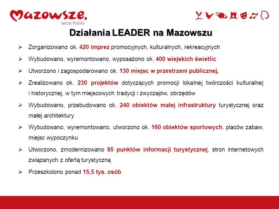 10 Działania LEADER na Mazowszu  Zorganizowano ok. 420 imprez promocyjnych, kulturalnych, rekreacyjnych  Wybudowano, wyremontowano, wyposażono ok. 4