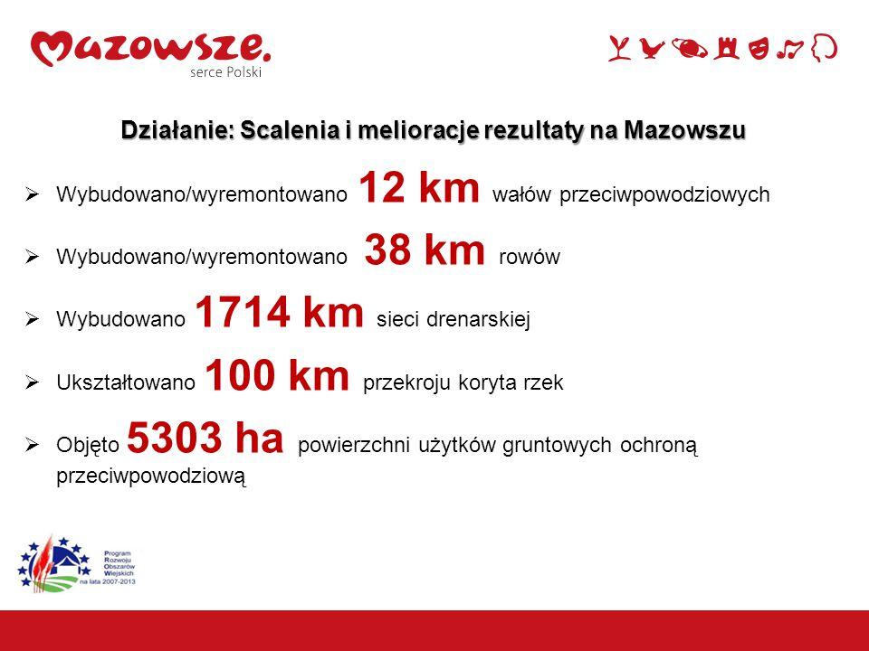 6 Działanie: Scalenia i melioracje rezultaty na Mazowszu  Wybudowano/wyremontowano 12 km wałów przeciwpowodziowych  Wybudowano/wyremontowano 38 km rowów  Wybudowano 1714 km sieci drenarskiej  Ukształtowano 100 km przekroju koryta rzek  Objęto 5303 ha powierzchni użytków gruntowych ochroną przeciwpowodziową