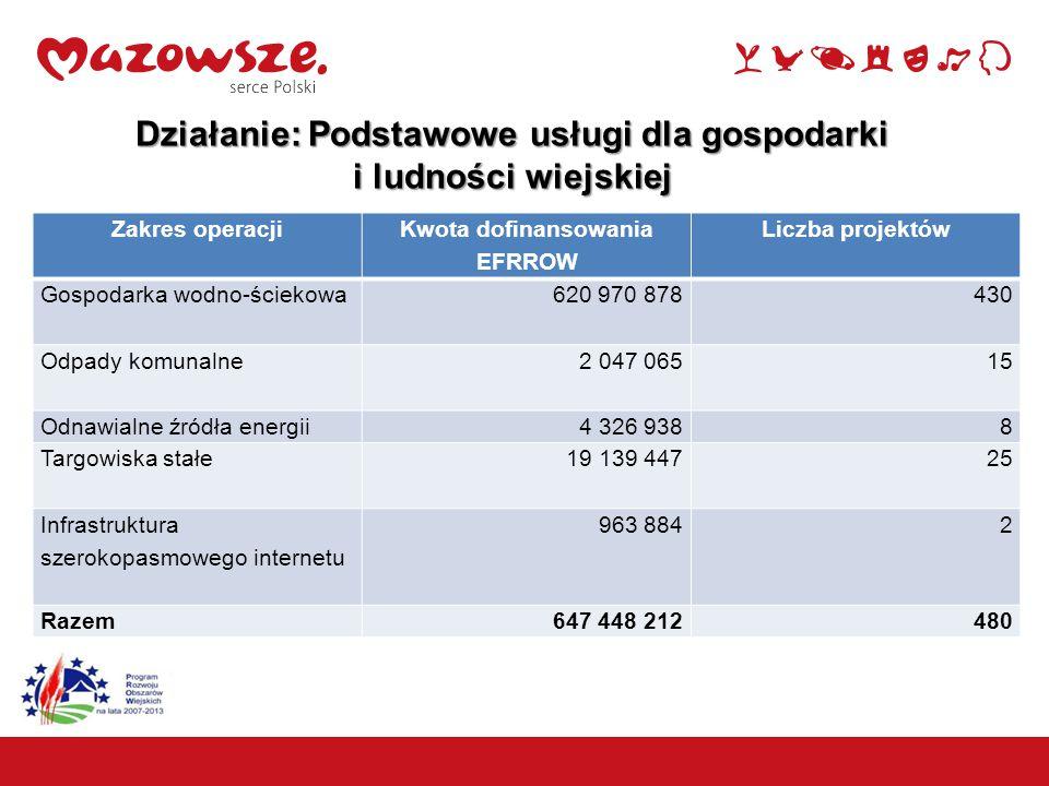 8 Działanie: Podstawowe usługi dla gospodarki i ludności wiejskiej Zakres operacji Kwota dofinansowania EFRROW Liczba projektów Gospodarka wodno-ściekowa 620 970 878430 Odpady komunalne 2 047 06515 Odnawialne źródła energii 4 326 9388 Targowiska stałe 19 139 44725 Infrastruktura szerokopasmowego internetu 963 8842 Razem647 448 212480