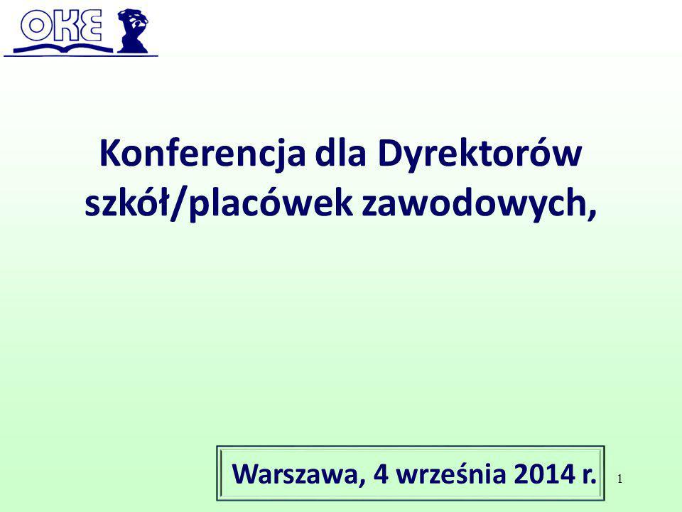 Konferencja dla Dyrektorów szkół/placówek zawodowych, Warszawa, 4 września 2014 r. 1