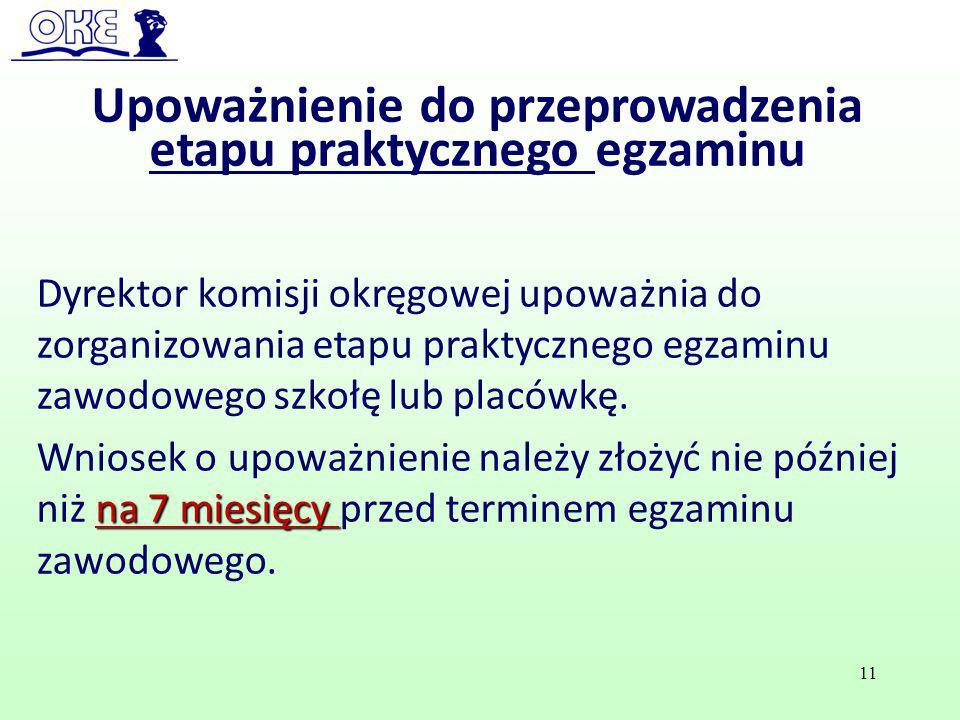 Upoważnienie do przeprowadzenia etapu praktycznego egzaminu Dyrektor komisji okręgowej upoważnia do zorganizowania etapu praktycznego egzaminu zawodow