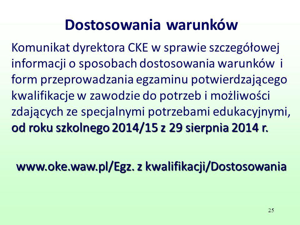 Dostosowania warunków od roku szkolnego 2014/15 z 29 sierpnia 2014 r. Komunikat dyrektora CKE w sprawie szczegółowej informacji o sposobach dostosowan