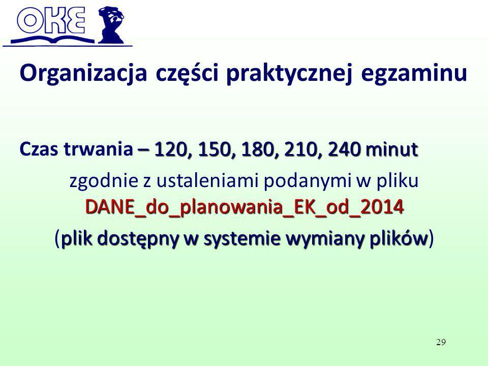 – 120, 150, 180, 210, 240 minut Czas trwania – 120, 150, 180, 210, 240 minut DANE_do_planowania_EK_od_2014 zgodnie z ustaleniami podanymi w pliku DANE