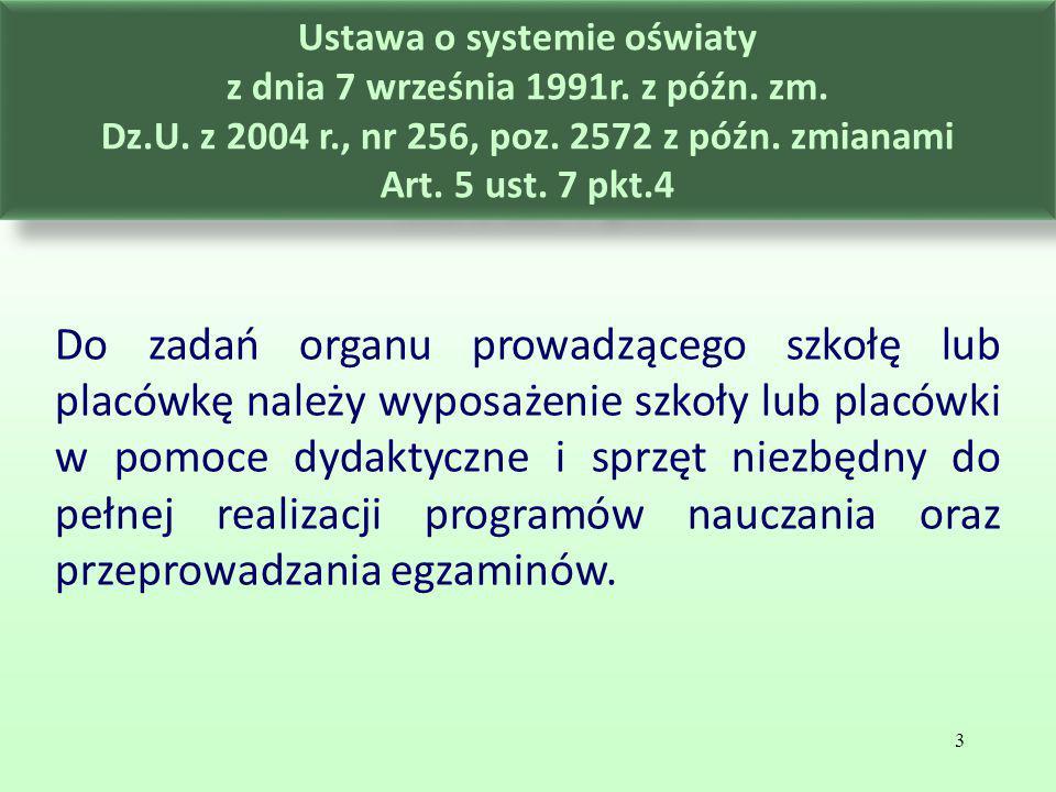 Ustawa o systemie oświaty z dnia 7 września 1991r. z późn. zm. Dz.U. z 2004 r., nr 256, poz. 2572 z późn. zmianami Art. 5 ust. 7 pkt.4 Do zadań organu