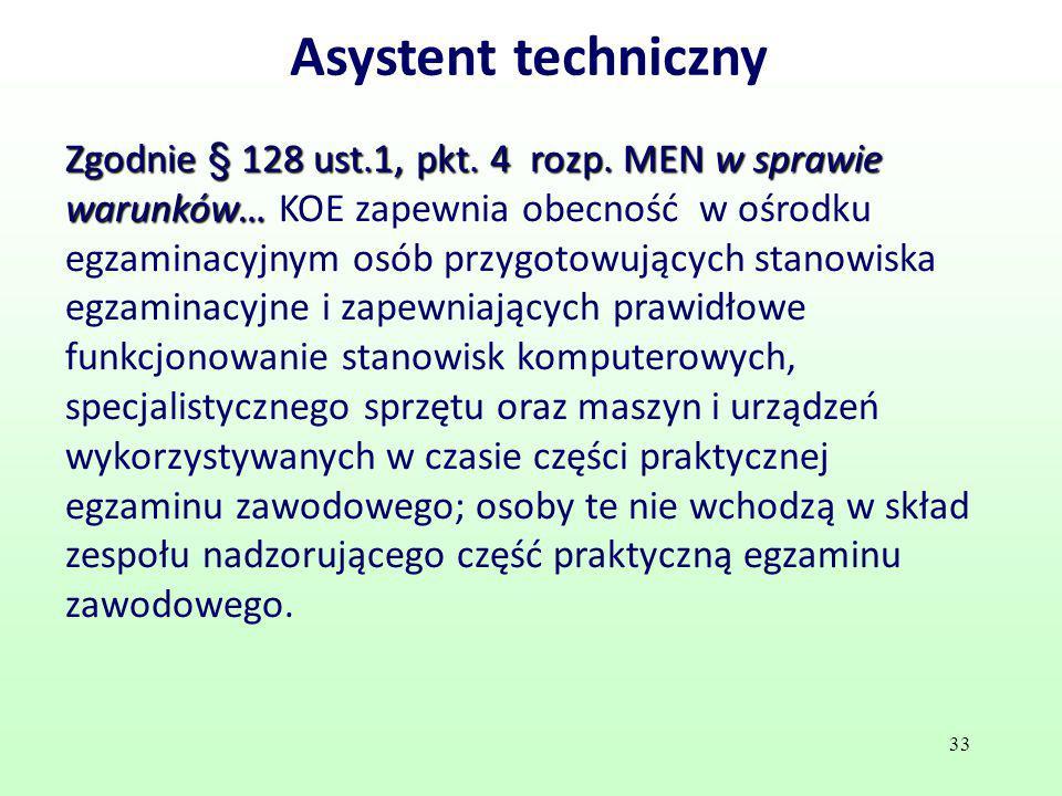 Asystent techniczny Zgodnie § 128 ust.1, pkt. 4 rozp. MEN w sprawie warunków… Zgodnie § 128 ust.1, pkt. 4 rozp. MEN w sprawie warunków… KOE zapewnia o