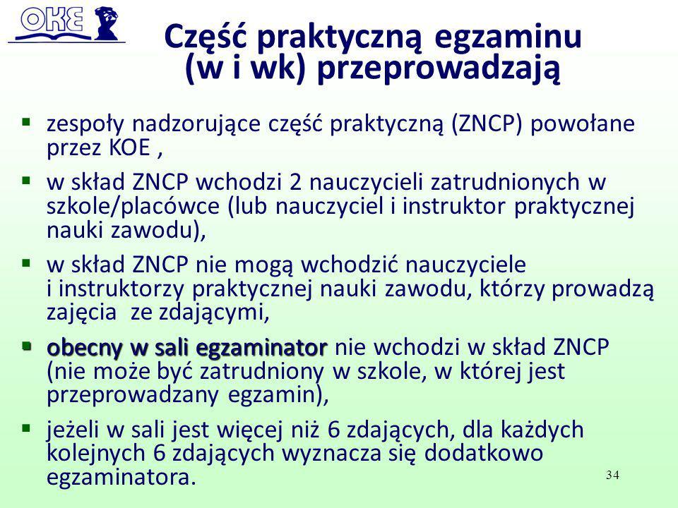  zespoły nadzorujące część praktyczną (ZNCP) powołane przez KOE,  w skład ZNCP wchodzi 2 nauczycieli zatrudnionych w szkole/placówce (lub nauczyciel