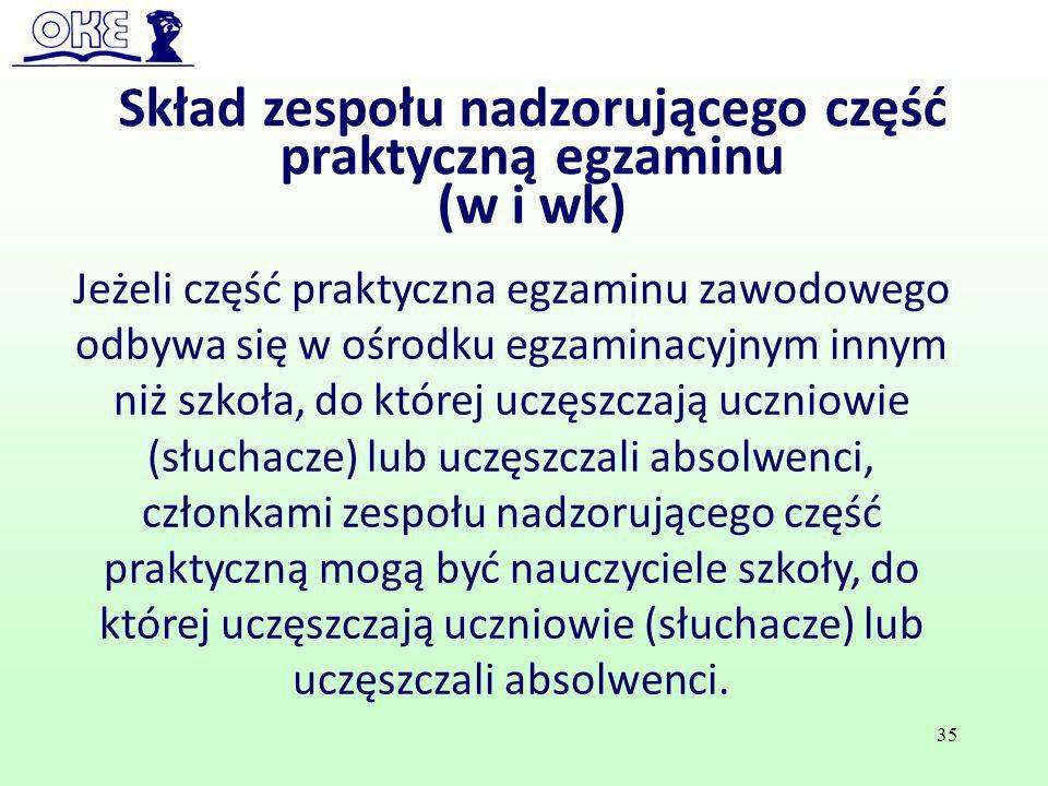 35 Skład zespołu nadzorującego część praktyczną egzaminu (w i wk) Jeżeli część praktyczna egzaminu zawodowego odbywa się w ośrodku egzaminacyjnym inny