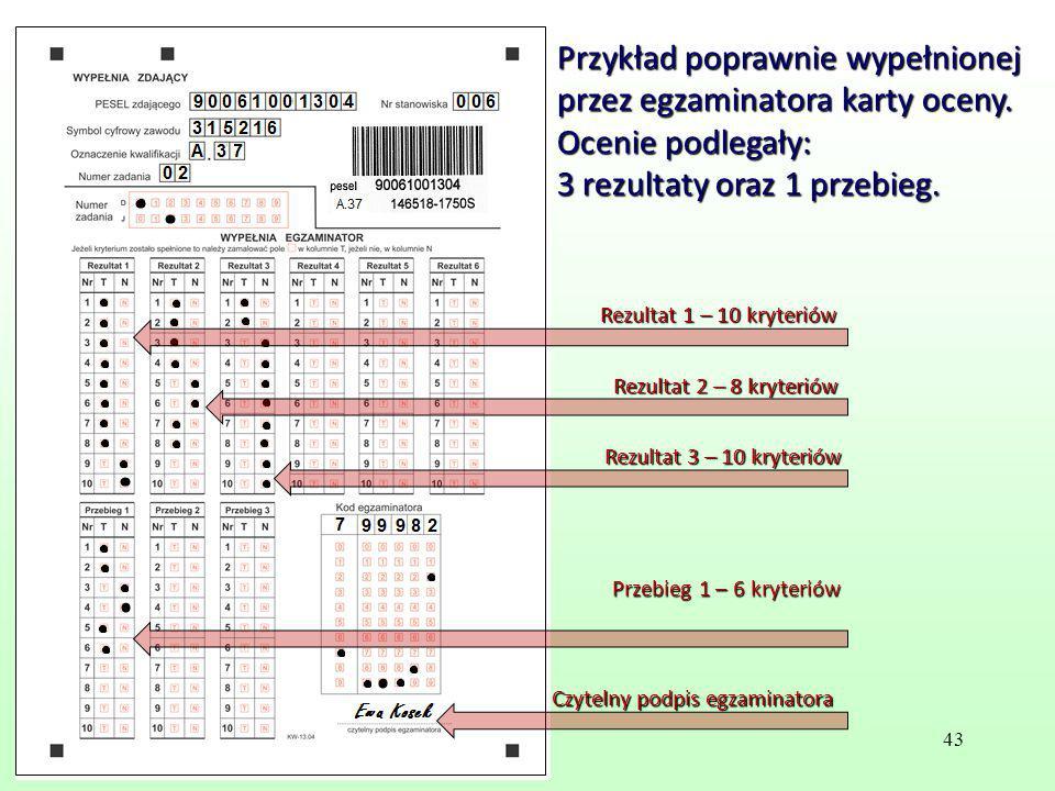 Przykład poprawnie wypełnionej przez egzaminatora karty oceny. Ocenie podlegały: 3 rezultaty oraz 1 przebieg. Przebieg 1 – 6 kryteriów Czytelny podpis