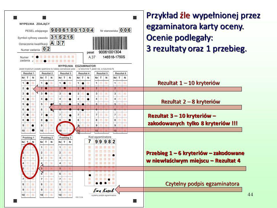 Przykład źle wypełnionej przez egzaminatora karty oceny. Ocenie podlegały: 3 rezultaty oraz 1 przebieg. Przebieg 1 – 6 kryteriów – zakodowane w niewła