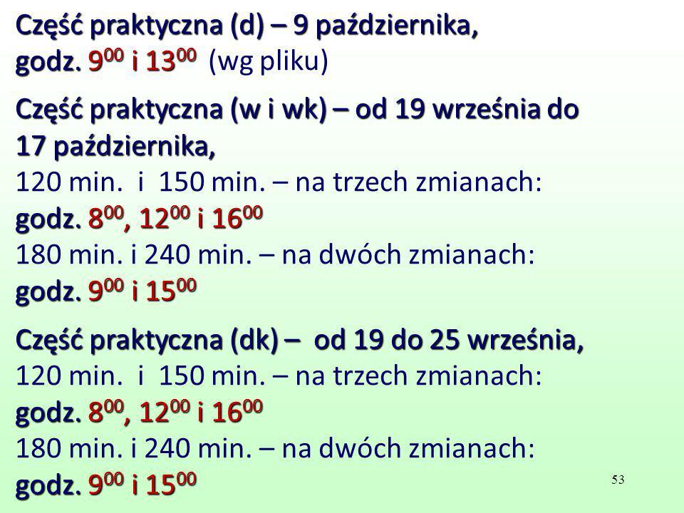 Część praktyczna (d) – 9 października, godz. 9 00 i 13 00 godz. 9 00 i 13 00 (wg pliku) Część praktyczna (w i wk) – od 19 września do 17 października,