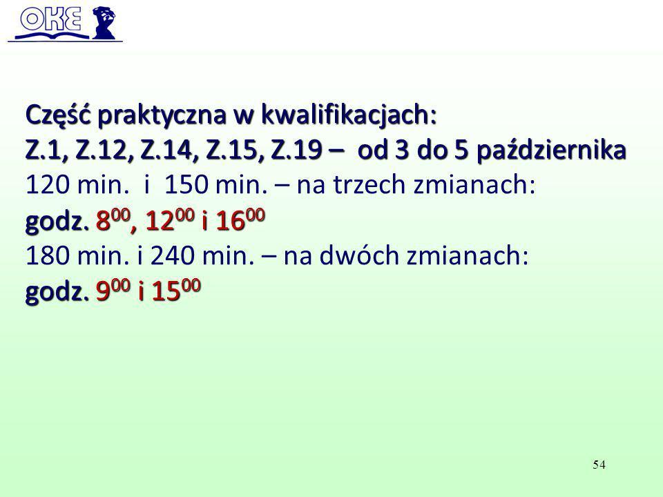 Część praktyczna w kwalifikacjach: Z.1, Z.12, Z.14, Z.15, Z.19 – od 3 do 5 października 120 min. i 150 min. – na trzech zmianach: godz. 8 00, 12 00 i