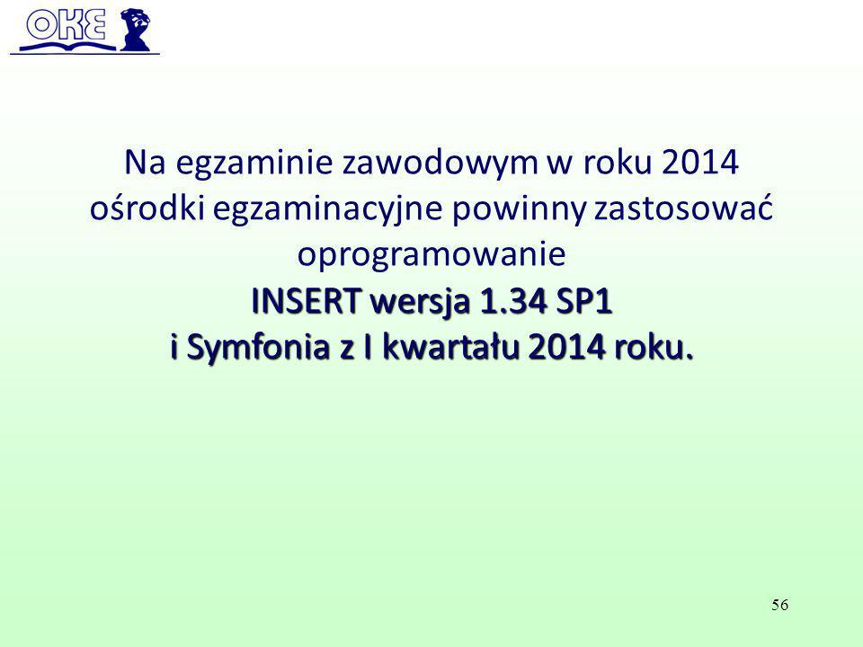 Na egzaminie zawodowym w roku 2014 ośrodki egzaminacyjne powinny zastosować oprogramowanie INSERT wersja 1.34 SP1 i Symfonia z I kwartału 2014 roku. 5