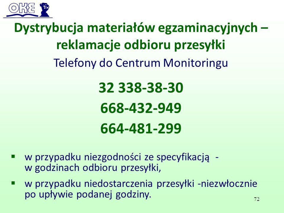 Dystrybucja materiałów egzaminacyjnych – reklamacje odbioru przesyłki Telefony do Centrum Monitoringu 32 338-38-30 668-432-949 664-481-299  w przypad
