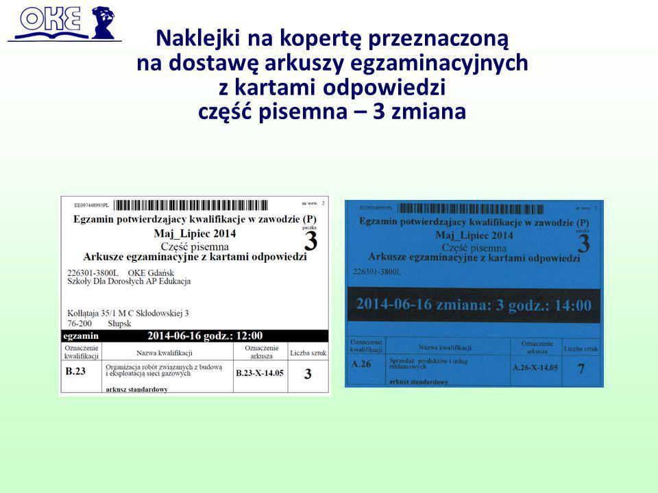 Naklejki na kopertę przeznaczoną na dostawę arkuszy egzaminacyjnych z kartami odpowiedzi część pisemna – 3 zmiana