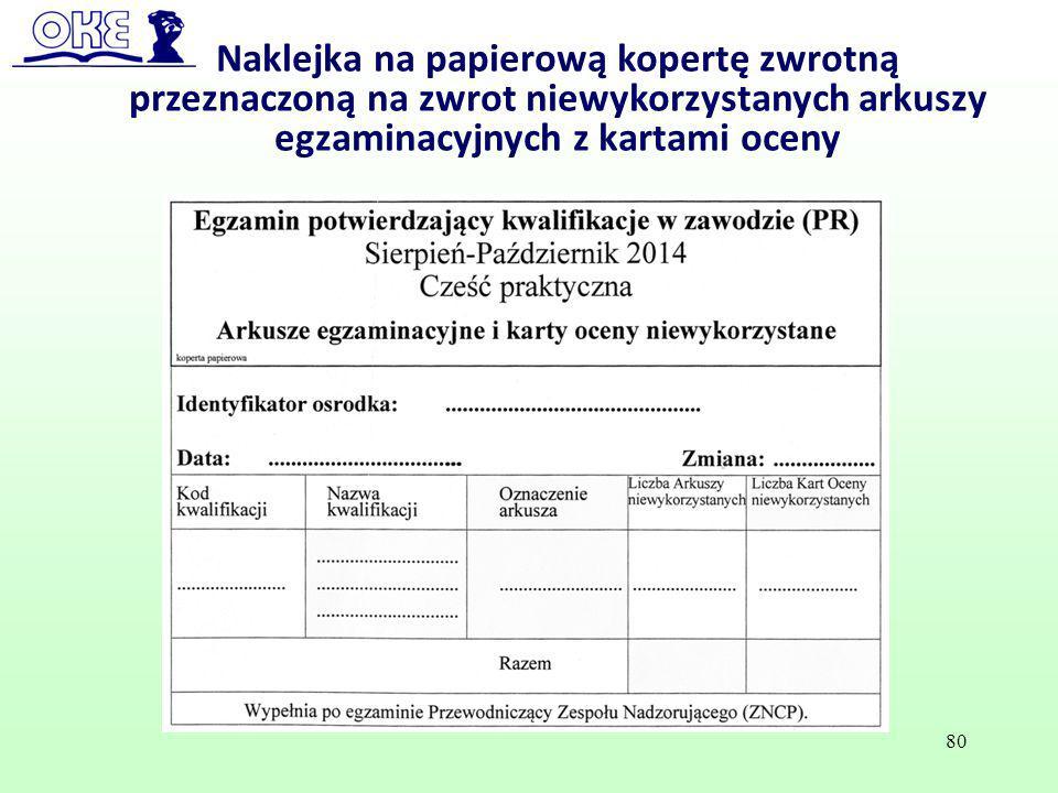 Naklejka na papierową kopertę zwrotną przeznaczoną na zwrot niewykorzystanych arkuszy egzaminacyjnych z kartami oceny 80