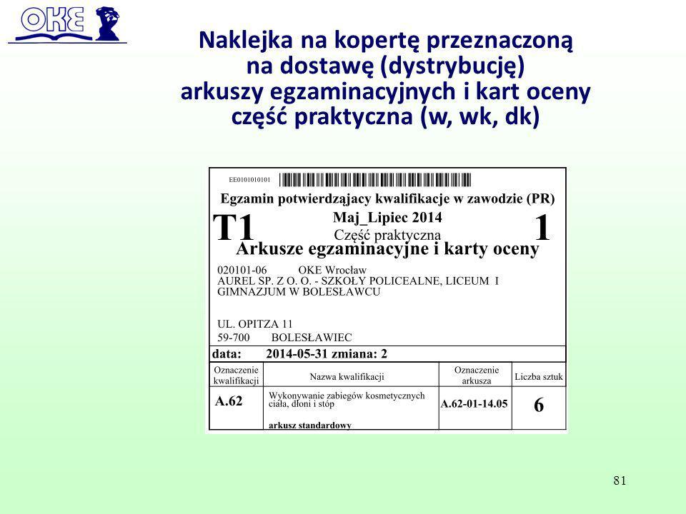 Naklejka na kopertę przeznaczoną na dostawę (dystrybucję) arkuszy egzaminacyjnych i kart oceny część praktyczna (w, wk, dk) 81