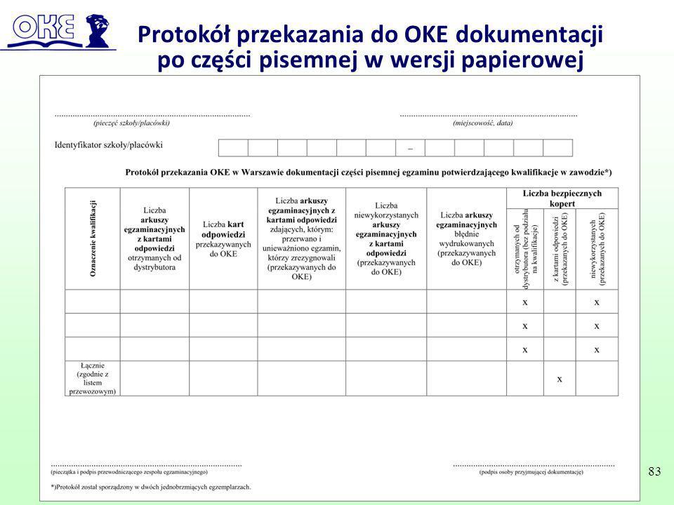 Protokół przekazania do OKE dokumentacji po części pisemnej w wersji papierowej 83