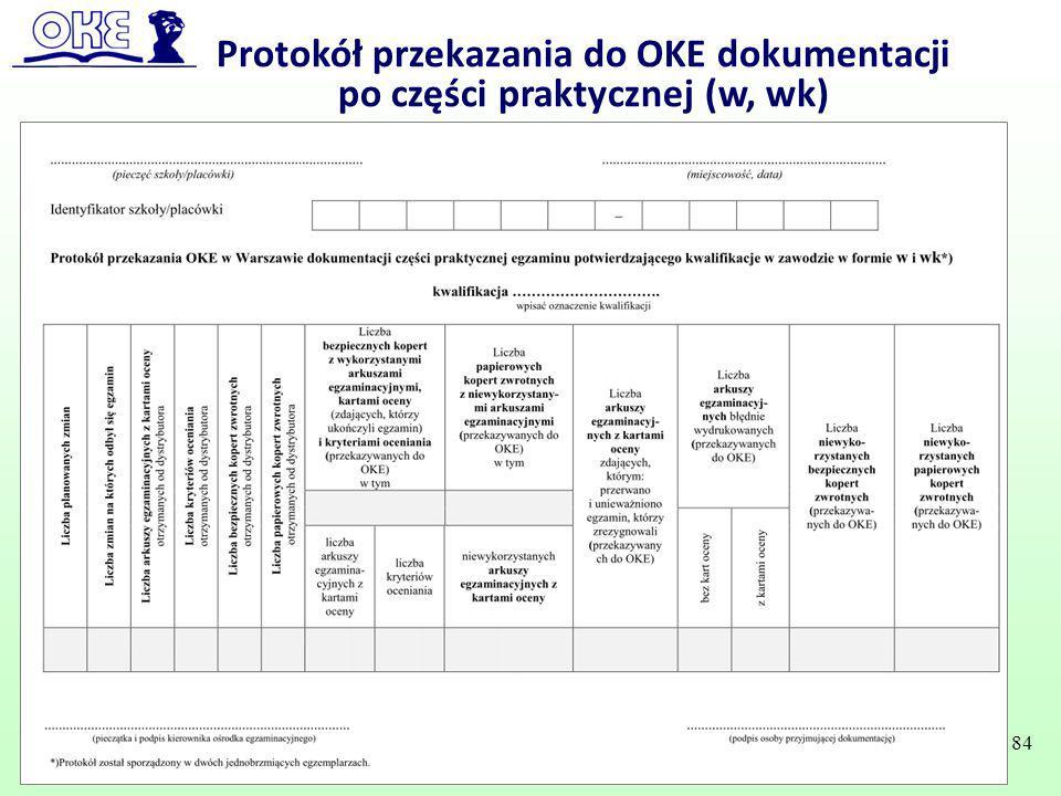 Protokół przekazania do OKE dokumentacji po części praktycznej (w, wk) 84