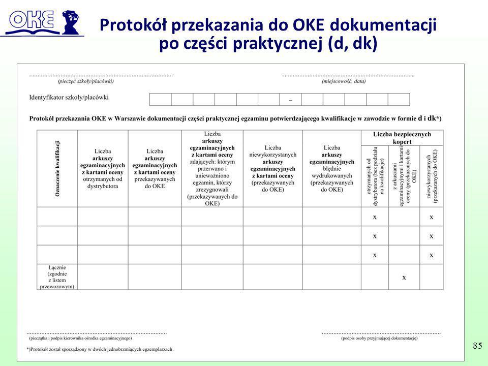 Protokół przekazania do OKE dokumentacji po części praktycznej (d, dk) 85