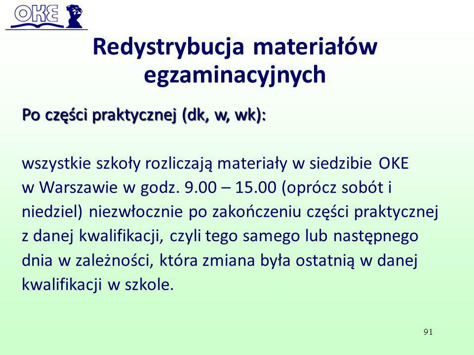 Po części praktycznej (dk, w, wk): wszystkie szkoły rozliczają materiały w siedzibie OKE w Warszawie w godz. 9.00 – 15.00 (oprócz sobót i niedziel) ni