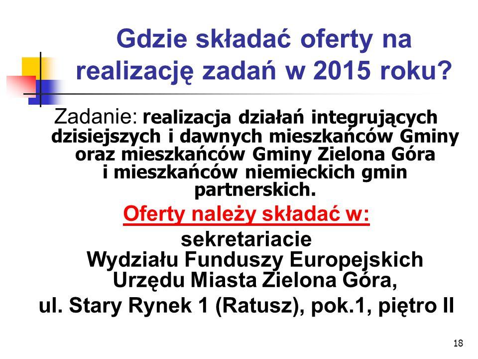 18 Gdzie składać oferty na realizację zadań w 2015 roku? Zadanie: r ealizacja działań integrujących dzisiejszych i dawnych mieszkańców Gminy oraz mies