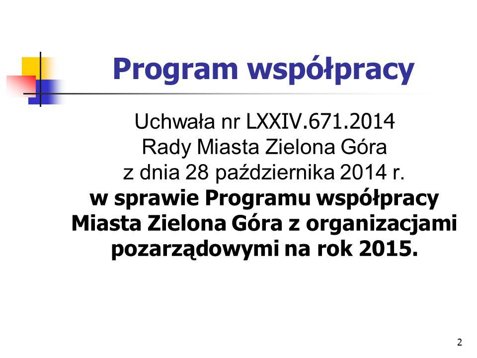 2 Program współpracy Uchwała nr LXXIV.671.2014 Rady Miasta Zielona Góra z dnia 28 października 2014 r. w sprawie Programu współpracy Miasta Zielona Gó