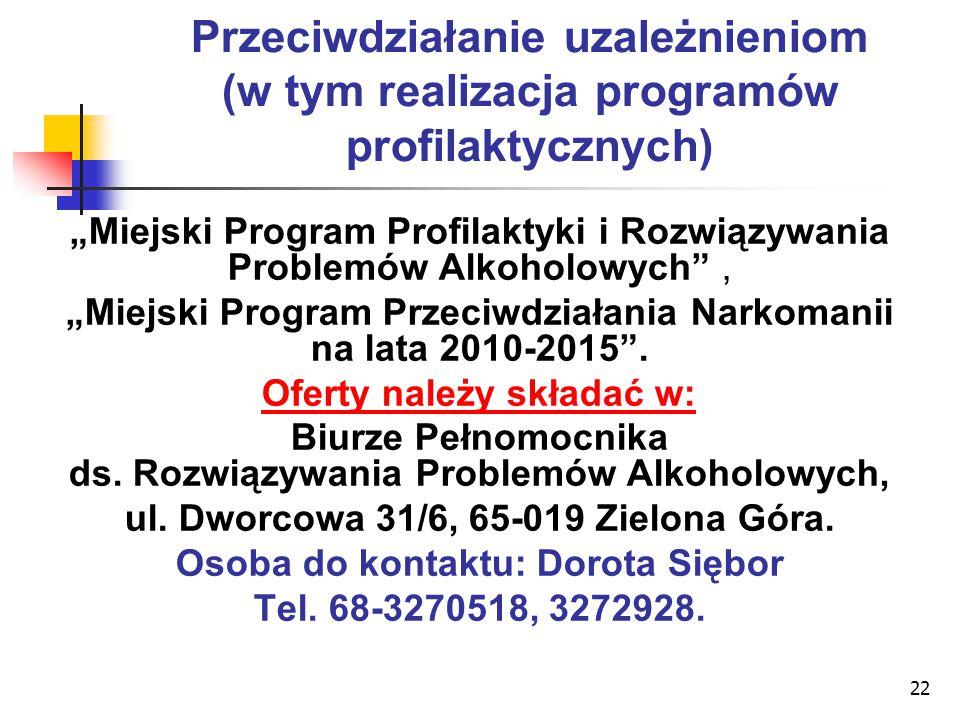 """22 Przeciwdziałanie uzależnieniom (w tym realizacja programów profilaktycznych) """"Miejski Program Profilaktyki i Rozwiązywania Problemów Alkoholowych"""","""