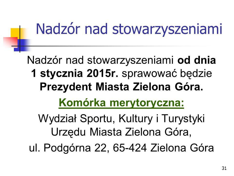 31 Nadzór nad stowarzyszeniami Nadzór nad stowarzyszeniami od dnia 1 stycznia 2015r. sprawować będzie Prezydent Miasta Zielona Góra. Komórka merytoryc