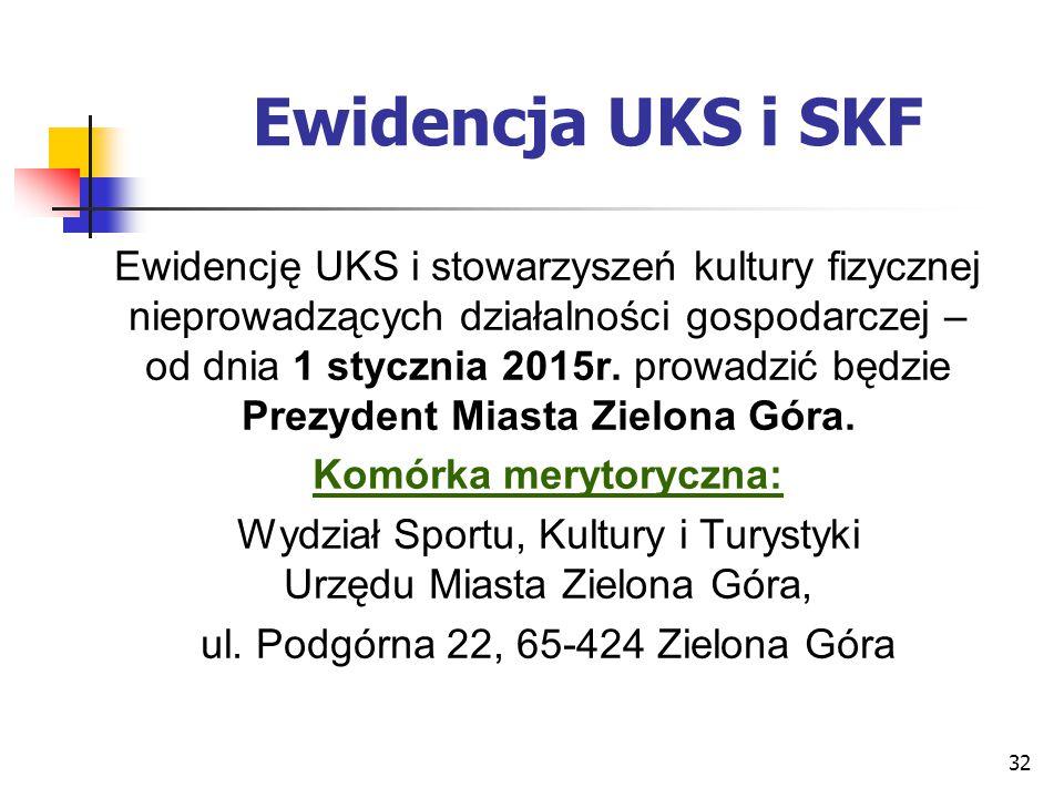 32 Ewidencja UKS i SKF Ewidencję UKS i stowarzyszeń kultury fizycznej nieprowadzących działalności gospodarczej – od dnia 1 stycznia 2015r. prowadzić