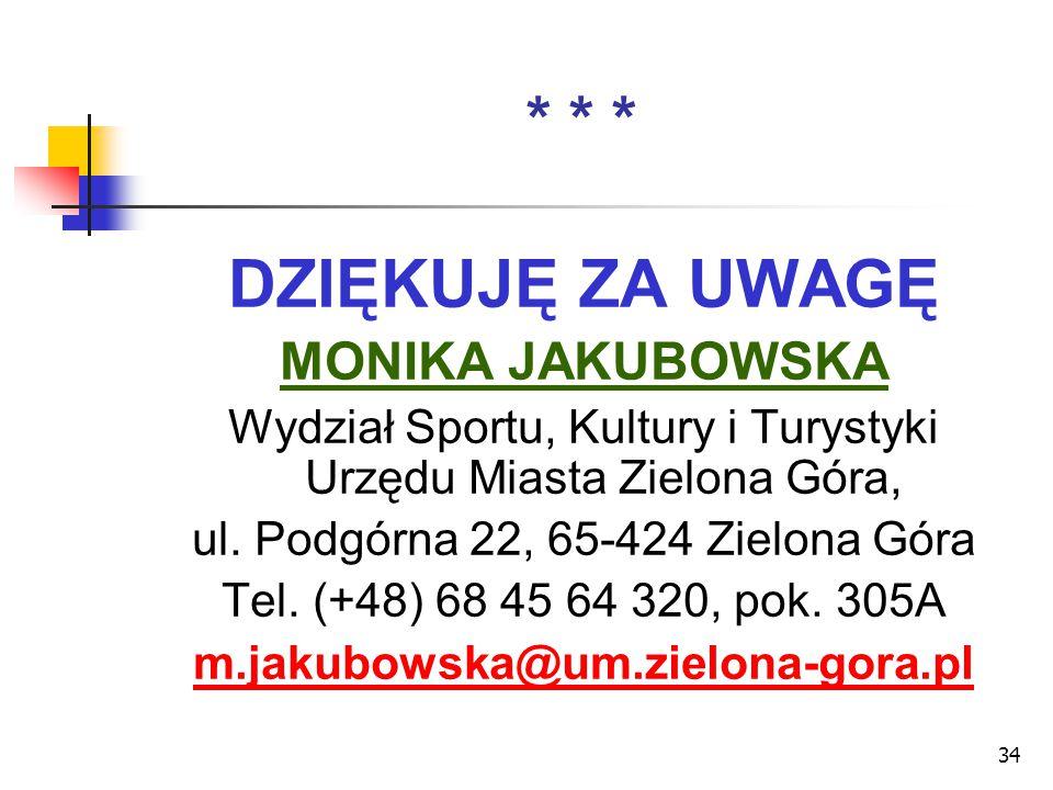 34 * * * DZIĘKUJĘ ZA UWAGĘ MONIKA JAKUBOWSKA Wydział Sportu, Kultury i Turystyki Urzędu Miasta Zielona Góra, ul. Podgórna 22, 65-424 Zielona Góra Tel.