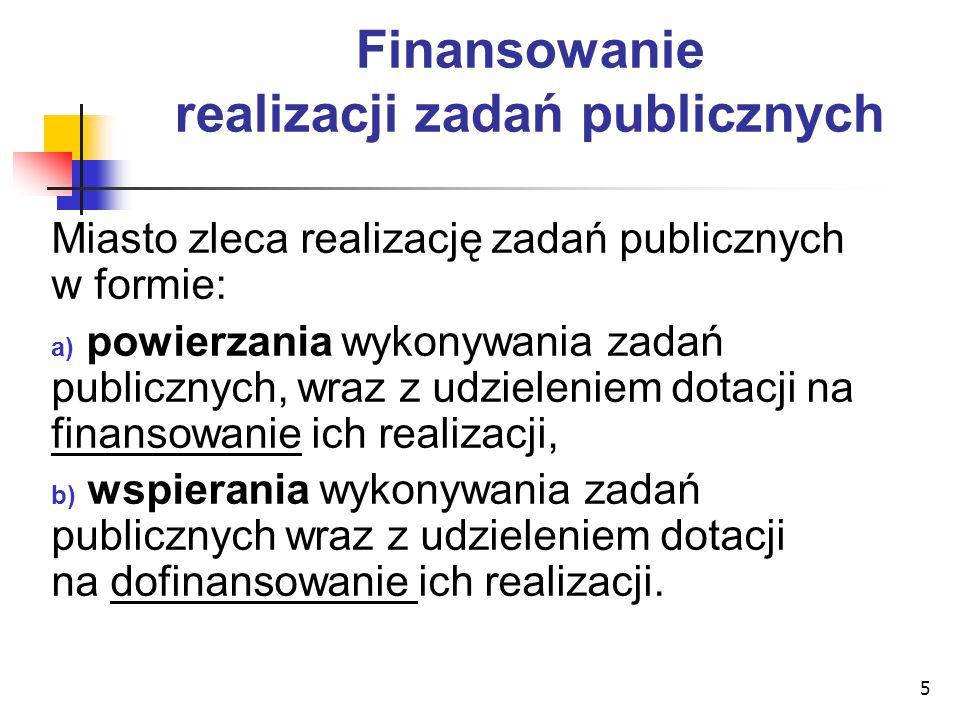 5 Finansowanie realizacji zadań publicznych Miasto zleca realizację zadań publicznych w formie: a) powierzania wykonywania zadań publicznych, wraz z u