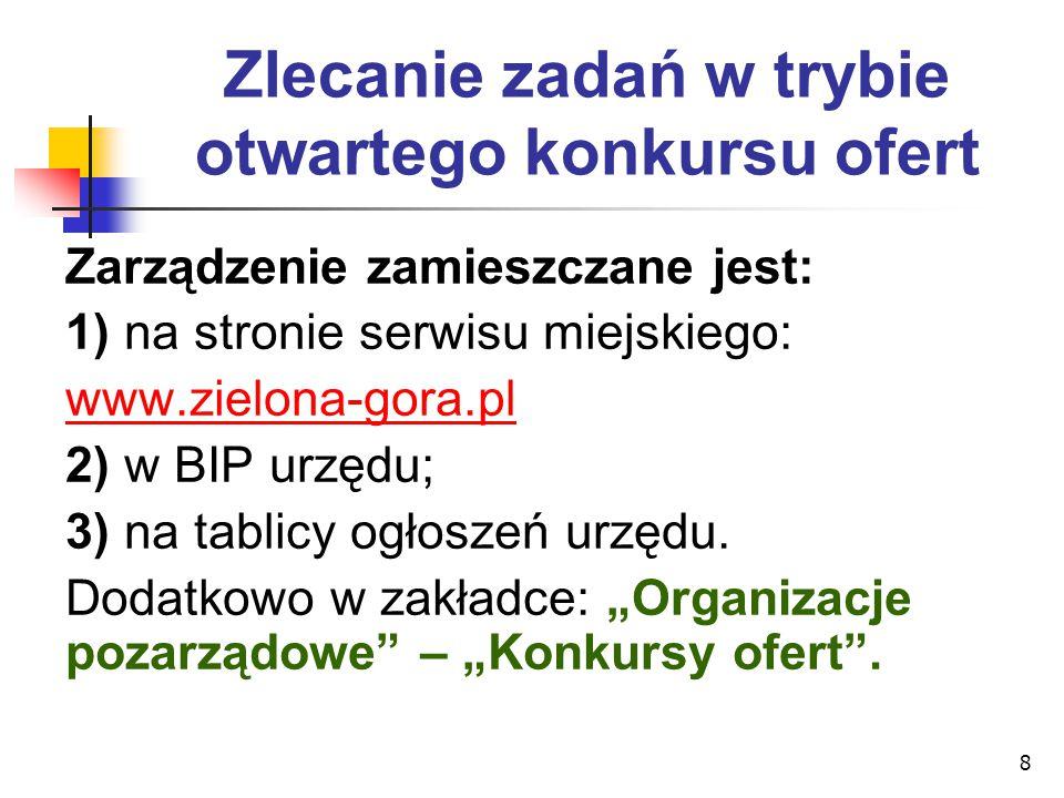 8 Zlecanie zadań w trybie otwartego konkursu ofert Zarządzenie zamieszczane jest: 1) na stronie serwisu miejskiego: www.zielona-gora.pl 2) w BIP urzęd