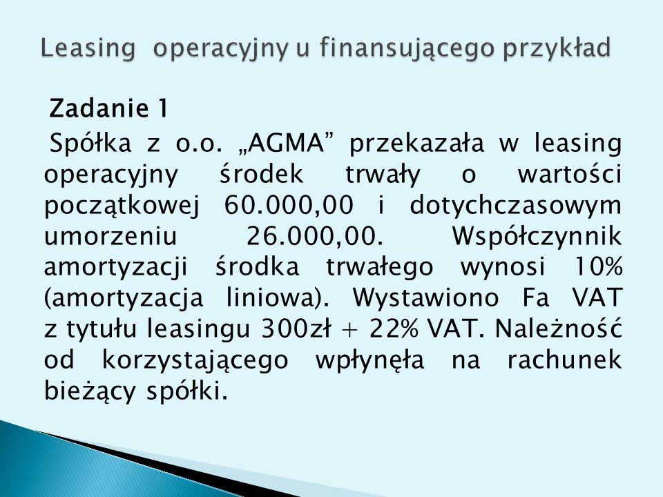 """Zadanie 1 Spółka z o.o. """"AGMA"""" przekazała w leasing operacyjny środek trwały o wartości początkowej 60.000,00 i dotychczasowym umorzeniu 26.000,00. Ws"""