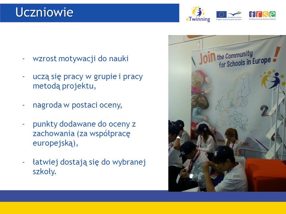 Uczniowie -wzrost motywacji do nauki -uczą się pracy w grupie i pracy metodą projektu, -nagroda w postaci oceny, -punkty dodawane do oceny z zachowania (za współpracę europejską), -łatwiej dostają się do wybranej szkoły.