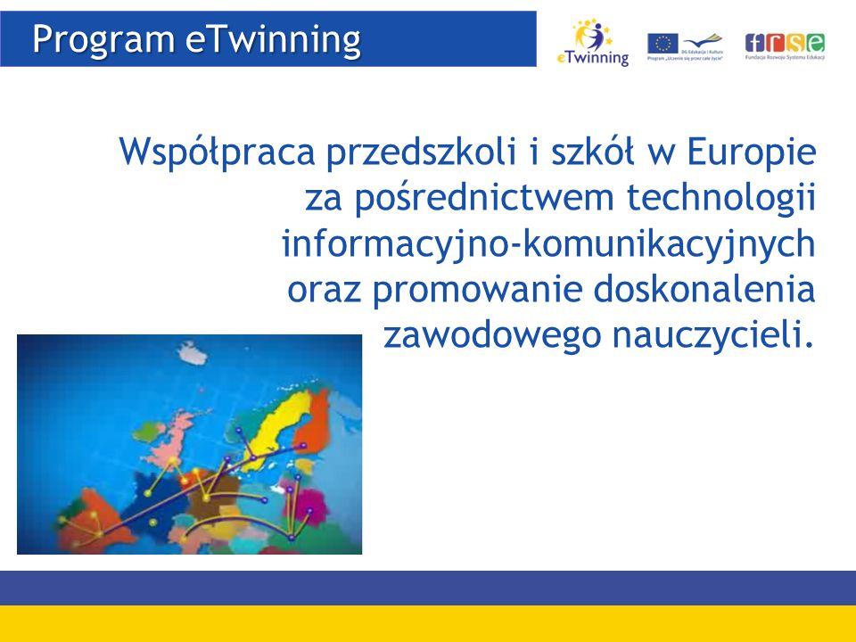 Program eTwinning Program eTwinning Współpraca przedszkoli i szkół w Europie za pośrednictwem technologii informacyjno-komunikacyjnych oraz promowanie doskonalenia zawodowego nauczycieli.