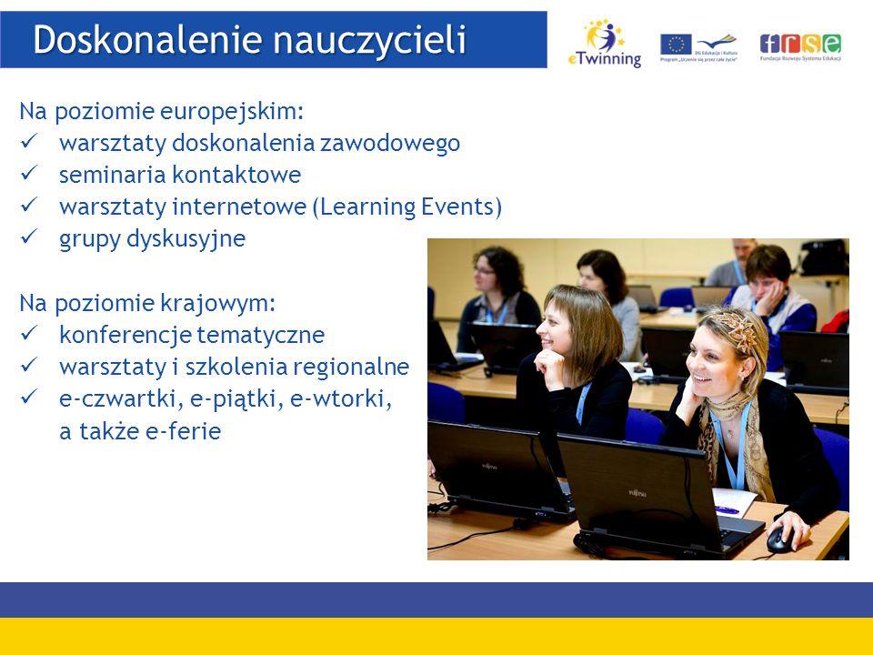 Doskonalenie nauczycieli Doskonalenie nauczycieli Na poziomie europejskim: warsztaty doskonalenia zawodowego seminaria kontaktowe warsztaty internetowe (Learning Events) grupy dyskusyjne Na poziomie krajowym: konferencje tematyczne warsztaty i szkolenia regionalne e-czwartki, e-piątki, e-wtorki, a także e-ferie