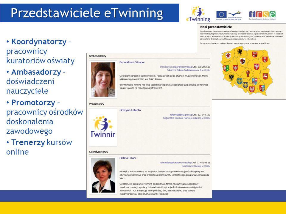 Przedstawiciele eTwinning Przedstawiciele eTwinning Koordynatorzy – pracownicy kuratoriów oświaty Ambasadorzy – doświadczeni nauczyciele Promotorzy –