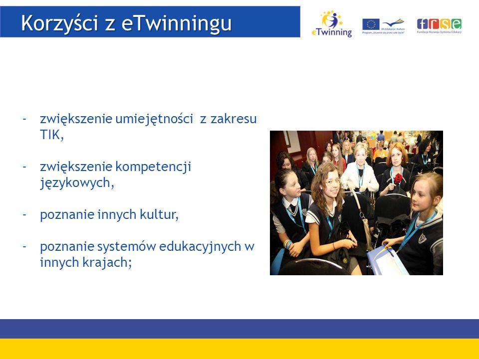 Korzyści z eTwinningu Korzyści z eTwinningu -zwiększenie umiejętności z zakresu TIK, -zwiększenie kompetencji językowych, -poznanie innych kultur, -poznanie systemów edukacyjnych w innych krajach;
