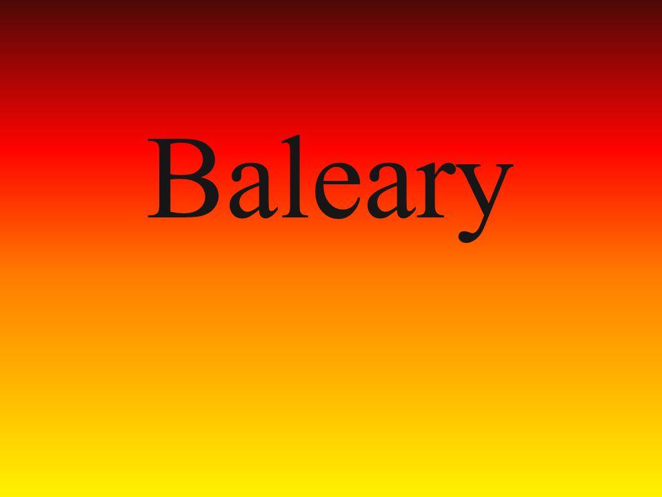 Baleary to archipelag zachodniej części Morza Śródziemnego w pobliżu wschodniego wybrzeża Hiszpanii o powierzchni 5014 km².