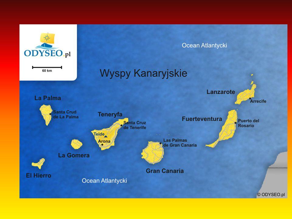 Wyspy Kanaryjskie Wyspy kanaryjskie moją powierzchnię 7293 km².Archipelag ten składa się z 7 wysp głównych: Teneryfa, Fuerteventura, Gran Canaria, Lanzarote, El Hierro, La Palma La Gomera oraz sześciu mniejszych: Alegranza, Graciosa, Montaña Clara, Lobos, Roque del Este Roque del Oeste.