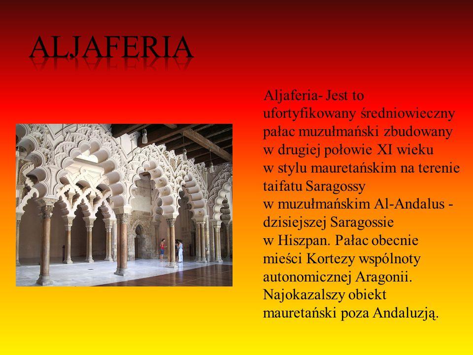 Alkazar w Sewilli - sławny pałac królewski, którego początki sięgają XI w.,, rozbudowany w latach 1350- 69 przez Piotra I Okrutnego w stylu mudejar.