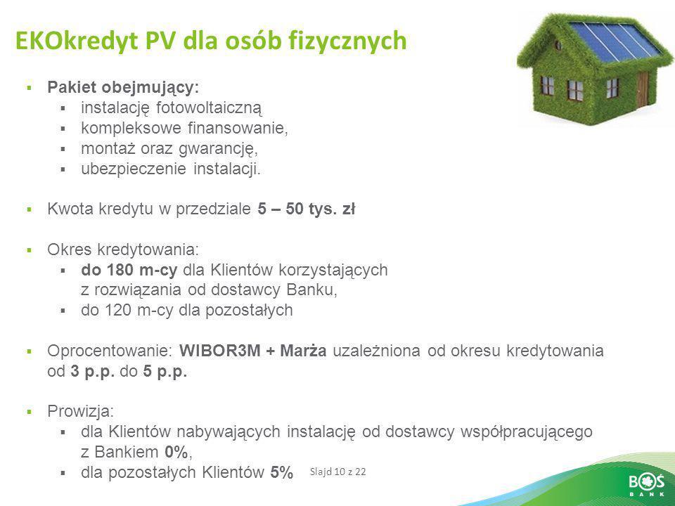 Slajd 10 z 22 EKOkredyt PV dla osób fizycznych  Pakiet obejmujący:  instalację fotowoltaiczną  kompleksowe finansowanie,  montaż oraz gwarancję, 