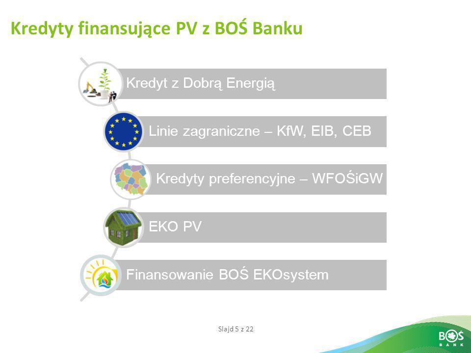 Slajd 5 z 22 Kredyty finansujące PV z BOŚ Banku Kredyt z Dobrą Energią Linie zagraniczne – KfW, EIB, CEB Kredyty preferencyjne – WFOŚiGW EKO PV Finans